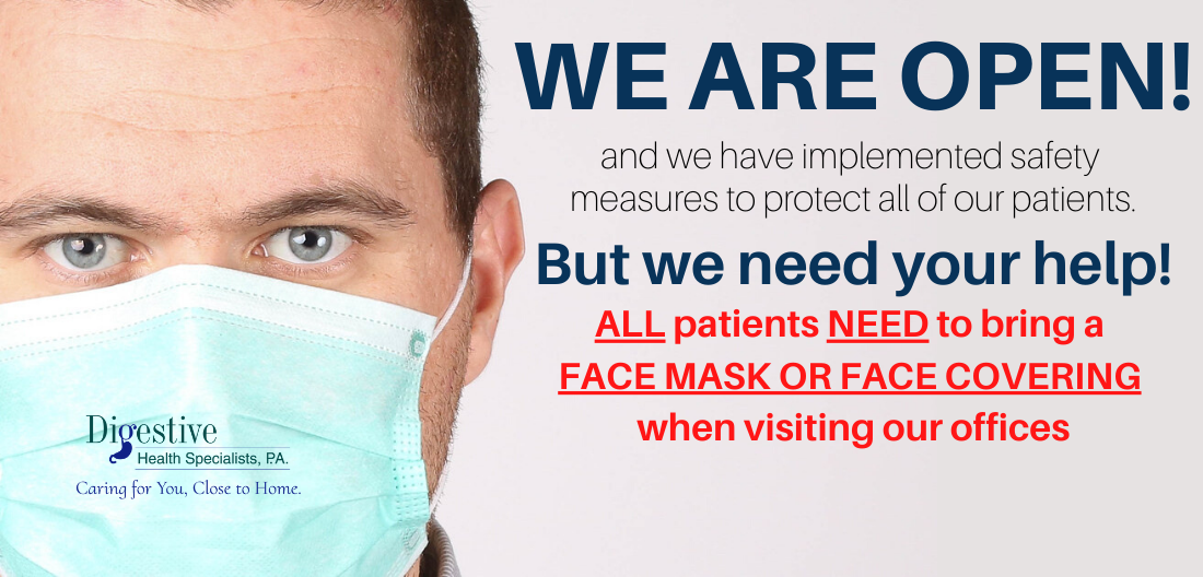 We are open but all patients need to wear mask image on slider