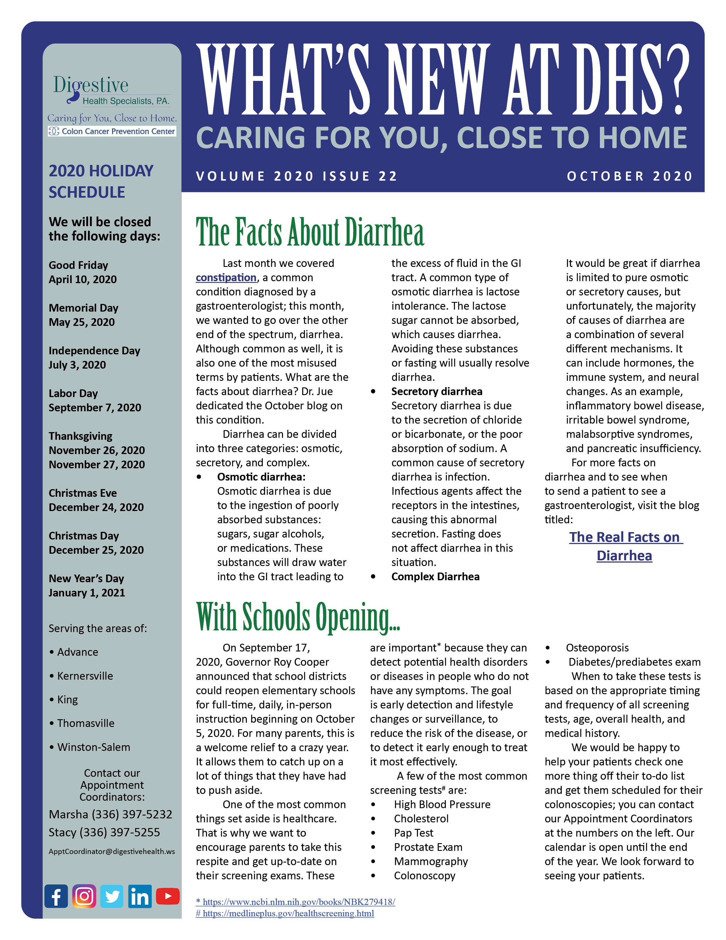 Newsletters Digestive Health Specialists P A