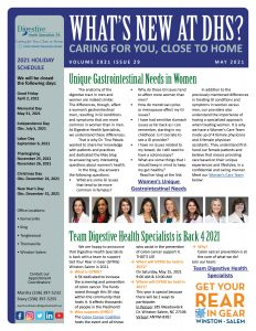 May 2021 physician newsletter about GI needs for women