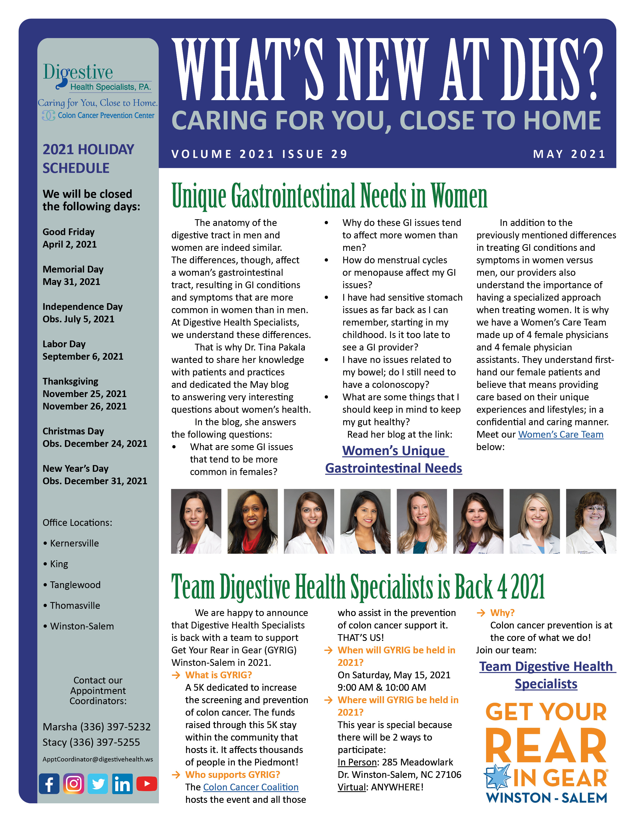 May 2021 Newsletter for referring physicians about women's gastrointestinal health