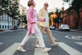 Elderly couple walking for exercise